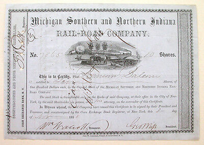 Michigan Southern & Northern Indiana Railroad Stock 1858
