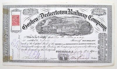 Goshen & Deckertown Railroad Stock Certificate 1900