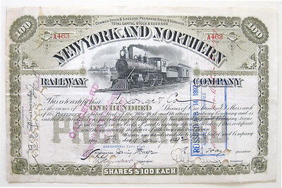 New York & Northern Railway Stock Certificate 1892