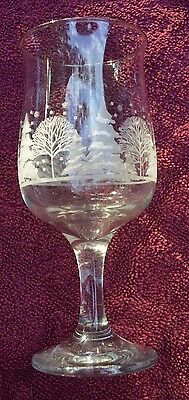 Arby's Tulip Wine Goblets Winter Snow White Frosted Etched Trees Holiday Candle