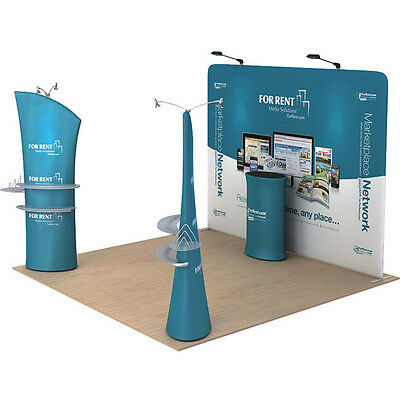 10 Ft Straight Fabric Trade Show Display Pop Up Stand Booth With Custom Printing