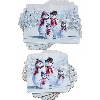 Macneil Christmas Snowman Family 4 x Table Mats Or 4 X Coasters Place Mats
