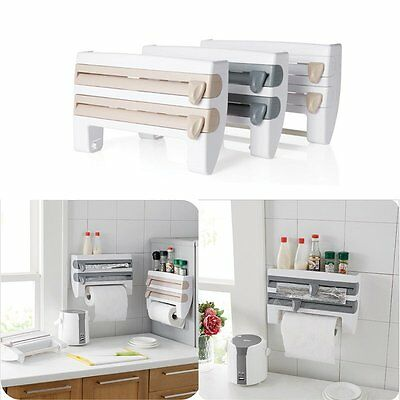 Foil Cling Towel Roll Holder Kitchen Rack Storage Dispenser Wall Mounted