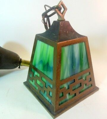 Antique Mission Craftsman Hanging Pendant Lantern Light Fixture Green SLAG GLASS