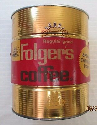 Vintage Folgers 3 lb. Coffee Can - Gold Canister with Ships - c1963 - FULL
