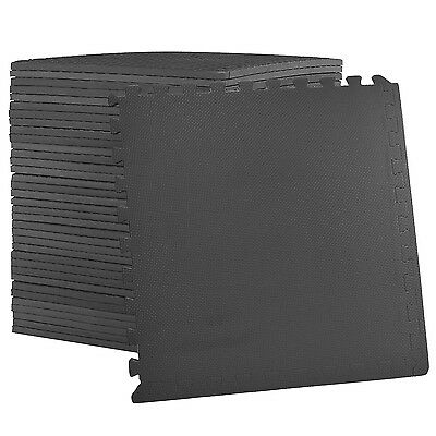 Large BLACK Interlocking EVA Foam Floor Mats Tiles Gym Play Garage 60cm x 60cm