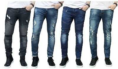Mens Ripped Slim fit Skinny Jeans Stretch Denim Distress Frayed Biker Jeans Boys