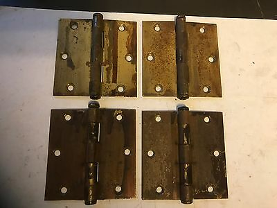 """4 Vintage Brass Plated Shabby Chippy Arts Craft Deco 3 1/2"""" Stanley Door Hinges"""
