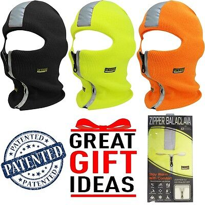 Reflective Safety High Visibility Zipper Face Mask Balaclava  Winter Hat