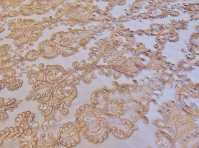 Champagne French Garden Sequin Mesh Big Pattern Floral Wedding romantic fabric