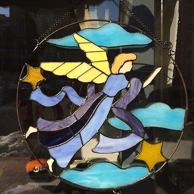 Tiffany Styled Stained Glass Window Panel 12'' Round 9038-G