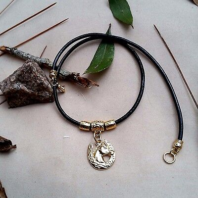 Leather  Black Cord Necklace  Choker Horse Shoe Pendant  Gold Women Cowgirl