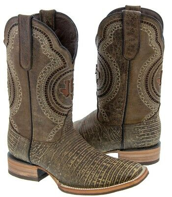 men's rustic sand cowboy leather overlay lizard western saddle rodeo toe boots
