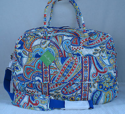 Vera Bradley GRAND TRAVELER Top Zip Travel Bag w/ Trolley Sleeve MARINA PAISLEY