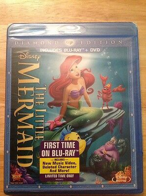 The Little Mermaid (Blu-ray/DVD,2013,2-Disc,Diamond Edition)NEW Authentic Disney