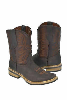 Men's Brown Smooth Leather Saddle Ranch Leather Cowboy Boots Square Toe.