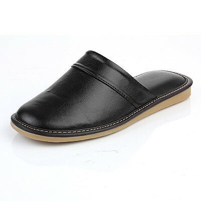 Cozy Adult Black Synthetic Leather Soft House Bedroom Slippers Shoes for Men
