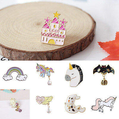 Cute Castle Unicons Bats Shape Brooch Collar Metal Corsage Pins Women Accessory