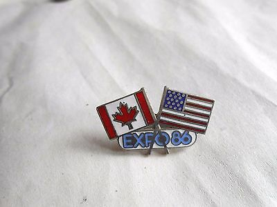 Vintage Expo 86 Vancouver Canada US and Canadian Flags Enamel Souvenir Pin