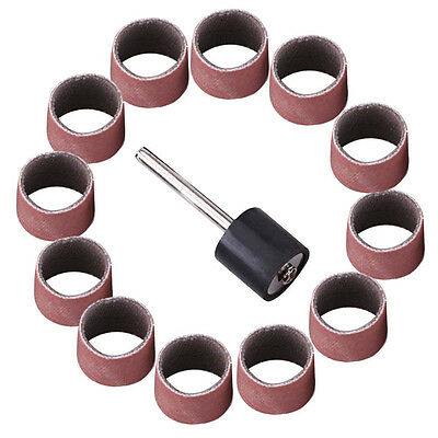 """100pcs/Set 600 Grit Sanding Bands Drums Sleeves & 1/8"""" Mandrel for Rotary Tool"""