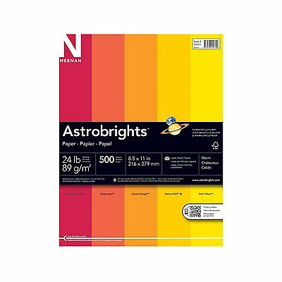 "Astrobrights Color Paper, 8.5"" x 11"", 24 lb / 89 gsm, ""Warm"" 5-Color Assortment,"