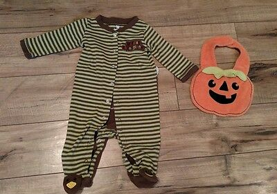 Lot of 2 Carters Koala Baby Pumpkin Halloween Bib Thanksgiving Onsie 6 months