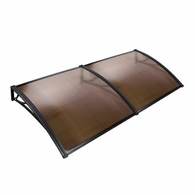 1x2M DIY Window Door Awning Canopy Patio UV Rain Outdoor Cover Sun Shield Brown