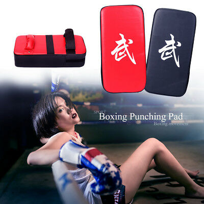 Thai Boxing Punch Traing Focus Kick Pad Mitts Hit Strike Shield Curved BK & Red