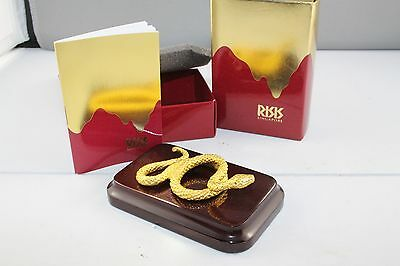 Risis 24kt Gold Plated New Zodiac Snake + Wooden Stand in Original Box