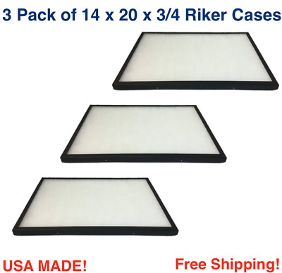 3 Pack of Riker Display Cases 14 x 20 x 3/4 for Collectibles Jewelry Arrowheads