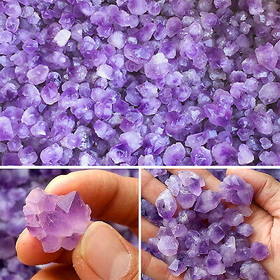 Natural Amethyst Gravels Crystals Brazil Lavender Purple Rough Stone Rock HIGH