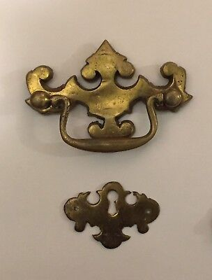 Vintage Chippendale Batwing solid brass Drawer Pull & Escutcheon key hole cover