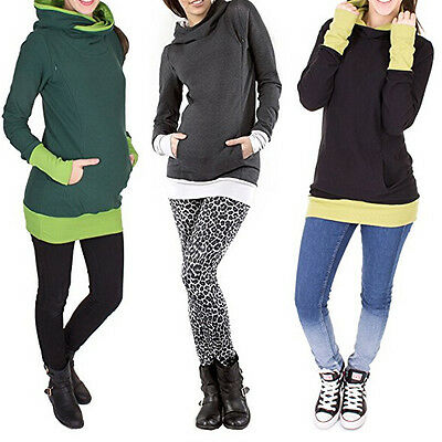 AU Breastfeeding Clothes Maternity Tops With Hoodie Nursing Tops Plus Size S-3XL
