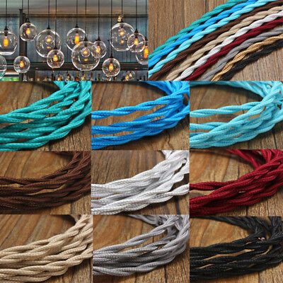 2/3/5/10M Twisted Braided Fabric Cloth Cable Flex 2 Core Electrical Cord Vintage
