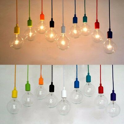 E27 Silicone Ceiling Rope Cord Pendant Lamp Holder Light Bulb Home Cafe DIY