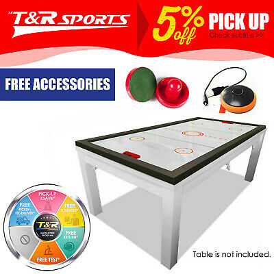 MACE 7FT 2-IN-1 Convertible Air Hockey Pool Table Red Felt for Billiard Gaming