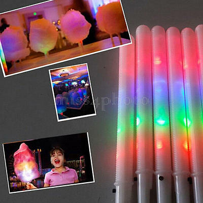 LED Cotton Candy Glow Sticks Light Up Flashing Cone Fairy Floss Stick For Party