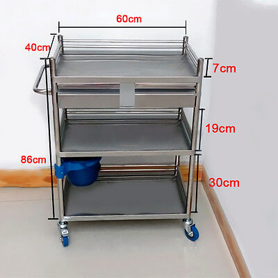Bring New Three Layers Serving Medical Dental Lab Cart Trolley with Two Drawers