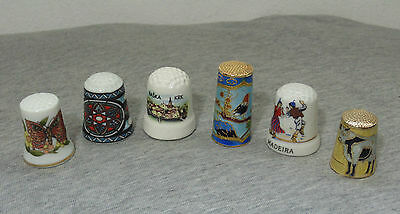 LOT of 6 VINTAGE OLD PORCELAIN DIFFERENT MIXED SEWING THIMBLES #--