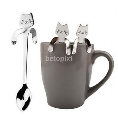 1X Cute Cat Stainless Steel Ice Cream Cocktail Teaspoon Coffee Soup Tea Spoon FR