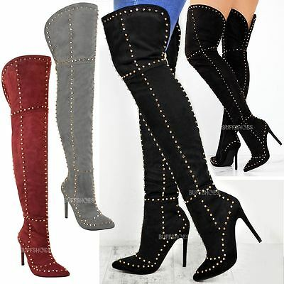Womens Ladies Studded Over The Knee Thigh Boots High Heel Stilleto Spikes Size