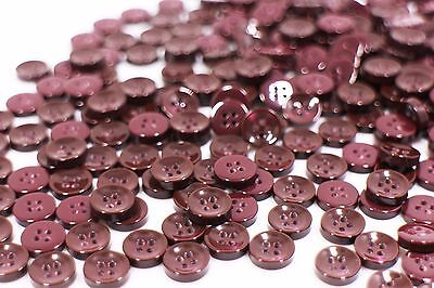 Dark Red Four Holes Sewing Button Blouse Shirt Bowl Shaped Round DIY 10mm 100pcs