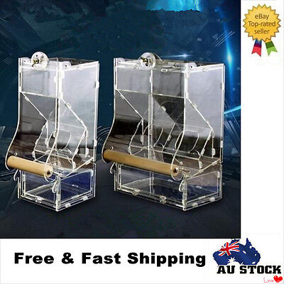 Double Hopper Clear Acrylic Pet Parrot Bird Automatic Cage Feeder Size S/M/L