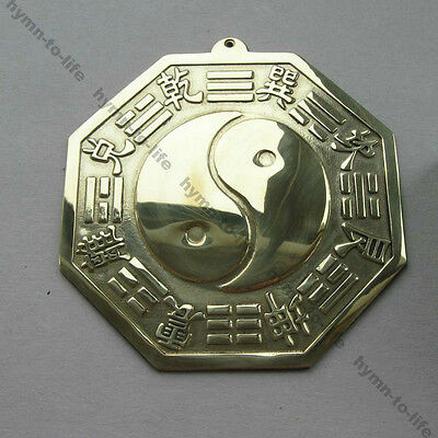 1 pc Chinese Ying yang Feng shui Pagua Mirror Bright Brass L size 4-1/4""