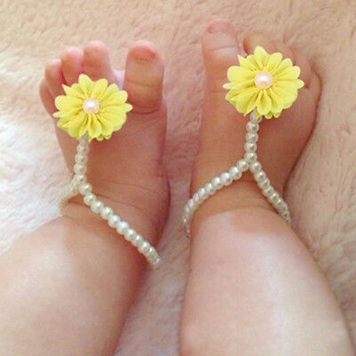 White Pearls & Beautiful Flower Baby Infant Ankle Bracelet Jewelry Gift 4 Colors