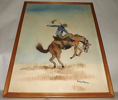 Vintage Western Bronco Riding Rodeo Cowboy Watercolor Signed Bobby Alderson