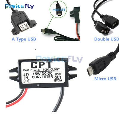 DC Converter 12V Step down to 9/5/6V 3A 15W Mini/Micro/Double USB Power Adapter