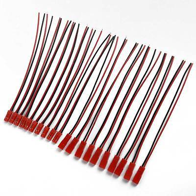 10 Pairs Plastic JST Connector Plug Cable Wire Line 21cm  Black +Red New