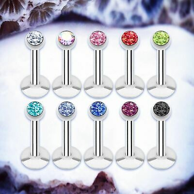BALL Silver Labret Stud Gem Cartilage Earring Crystal Tragus Bar Monroe Piercing