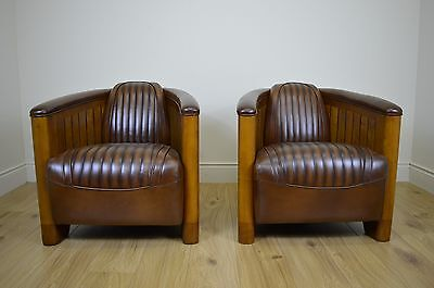 Pair Art Deco Club Style Walnut and Leather Chairs